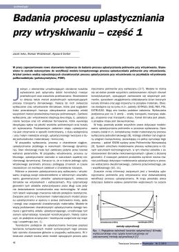 Badania procesu uplastyczniania przy wtryskiwaniu – część 1