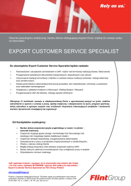 Export Customer Service Specialist