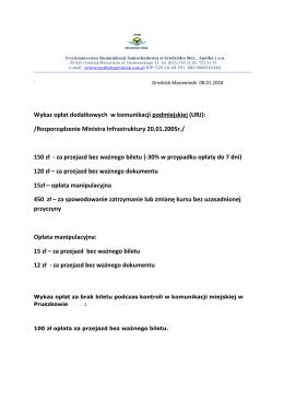 Wykaz opłat dodatkowych w komunikacji podmiejskiej (URJ