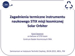 Zagadnienia termiczne instrumentu naukowego STIX misji