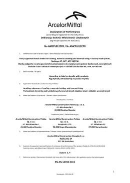 1 Declaration of Performance Deklaracja Stałości Właściwości