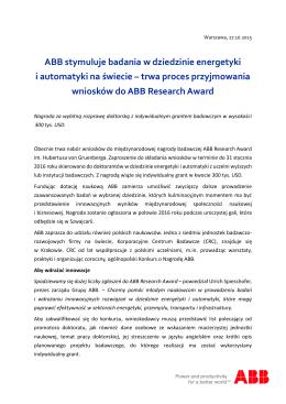 ABB stymuluje badania w dziedzinie energetyki i automatyki na