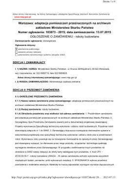 Warszawa: adaptacja pomieszczeń przeznaczonych na archiwum