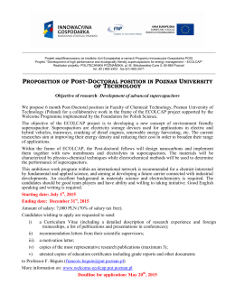 proposition of post-doctoral position in poznan university of technology