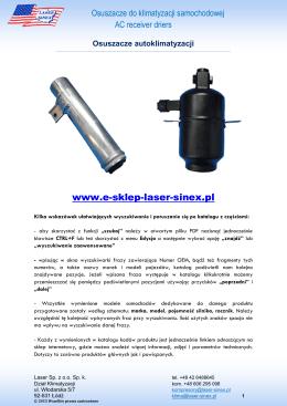 Osuszacze do klimatyzacji samochodowej - Laser