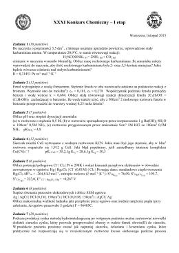 XXXI Konkurs Chemiczny – I etap - Wydział Chemiczny Politechniki