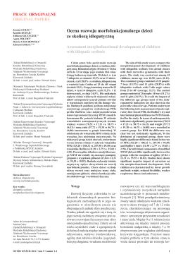 Ocena rozwoju morfofunkcjonalnego dzieci ze skoliozą