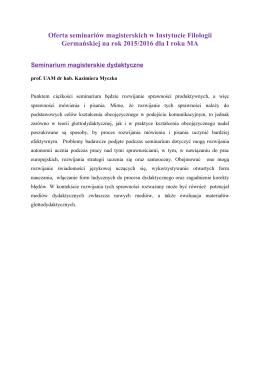 Oferta seminariów magisterskich - Instytut Filologii Germańskiej