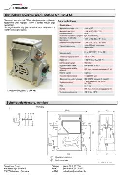 Dwupolowe styczniki prądu stałego typ C 294 AE Schemat