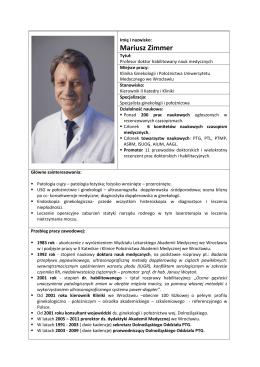 Mariusz Zimmer - Polskie Towarzystwo Ginekologiczne