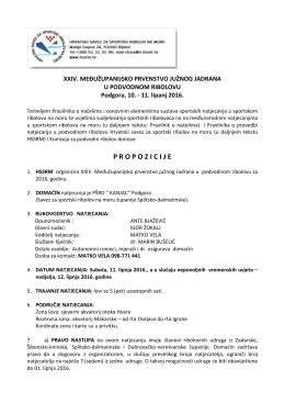 Propozicije MZ PR juzni Jadran