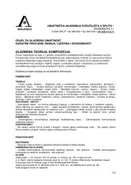 glazbena teorija, kompozicija - Umjetnička akademija u Splitu