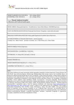 Tema: Muzeji i kulturni krajolici (Museums and
