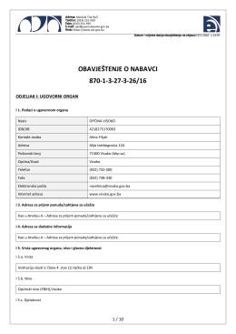 obavještenje o nabavci 870-1-3-27-3-26/16