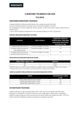 CJENOVNIK TELEMACH USLUGA 15.5.2016. ANALOGNA