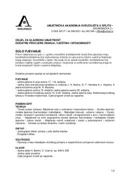 solo pjevanje - Umjetnička akademija u Splitu