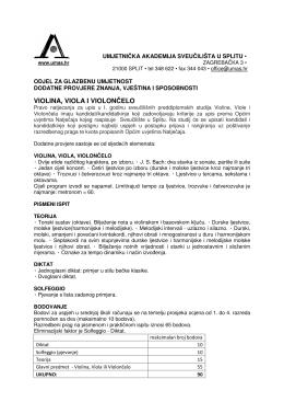 violina, viola i violončelo - Umjetnička akademija u Splitu
