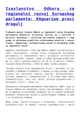 Izaslanstvo Odbora za regionalni razvoj Europskog