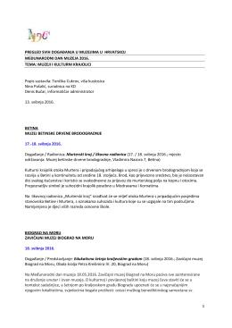 pregled svih događanja u muzejima od 16. - MDC-a