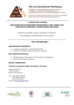 Prvo obavještenje - Univerzitet u Travniku