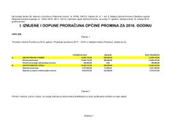 i. izmjene i dopune proračuna općine promina za 2016. godinu