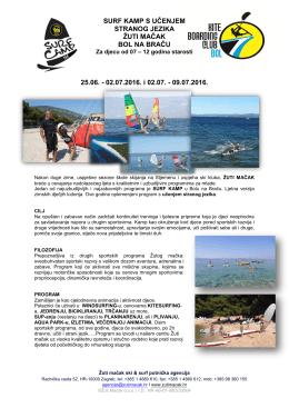 SURF KAMP S UČENJEM STRANOG JEZIKA ŽUTI MAČAK BOL NA