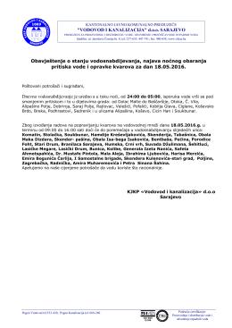 Obavještenje o stanju vodosnabdijevanja i odvodnje otpadnih voda