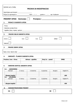 Prijava za registraciju