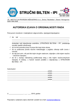 stručni bilten - ipi - IPI - Institut za privredni inženjering doo Zenica