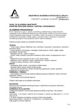 glazbena pedagogija - Umjetnička akademija u Splitu