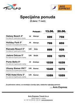 Specijalna ponuda - Avio Express Travel