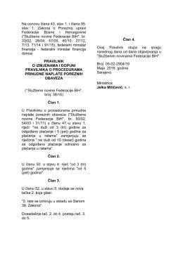 Na osnovu člana 43. stav 1. i člana 95. stav 1. Zakona o Poreznoj
