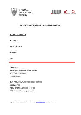 podaci za uplatu - Kupujmo hrvatsko