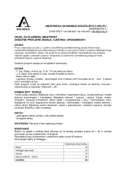 Gitara letak - Umjetnička akademija u Splitu