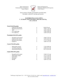 Raspored polaganja ispita u junskom roku