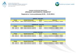 Raspored predavanja – SSiP Mostar