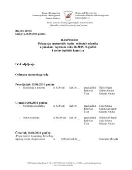 Raspored polaganja maturskih i završnih ispita za redovne učenike