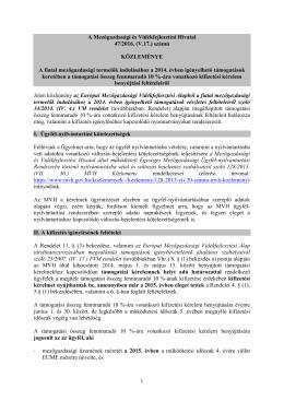 47-2016. (V.17.) számú MVH Közlemény