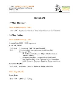 PROGRAM 19 May Thursday 20 May Friday