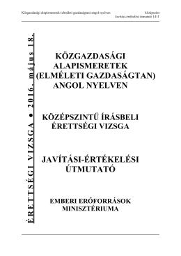 közgazdasági alapismeretek (elméleti gazdaságtan) angol nyelven