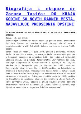 Biografija i ekspoze dr Zorana Tasića: DO KRAJA