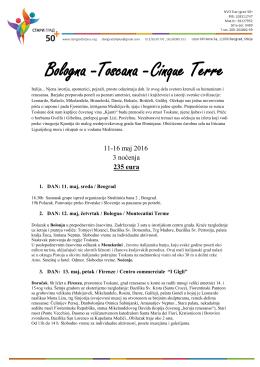 Bologna -Toscana -Cinque Terre