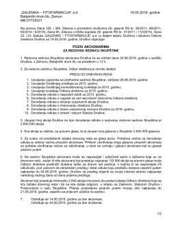 """""""GALENIKA – FITOFARMACIJA"""" a.d. 19.05.2016. godine Batajnički"""