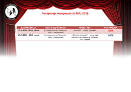 Репертоар позоришта за МАЈ 2016.