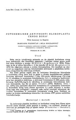 Acta Bot. Croat. 35 (1976) 71—75 FOTOHEMIJSKE AKTIVNOSTI