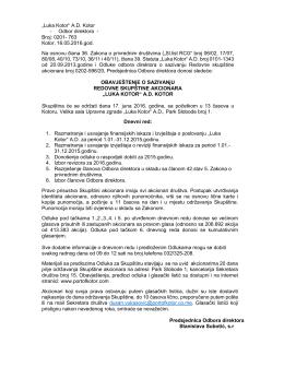 Broj: 0201- 763 Kotor, 16.05.2016.god. Na osnovu