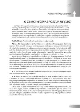 Adrijen Rič i Kejt Voldman: O ZBIRCI VEČERAS POEZIJA NE