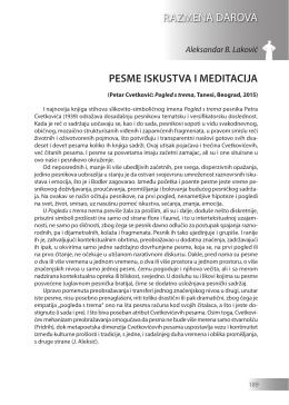 Aleksandar B. Laković: PESME ISKUSTVA I MEDITACIJA