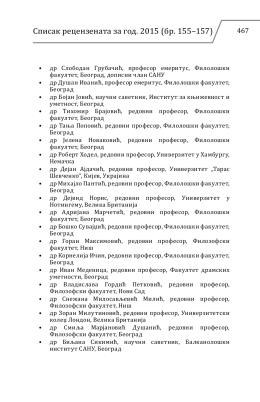 Списак рецензената за год. 2015 (бр. 155–157)
