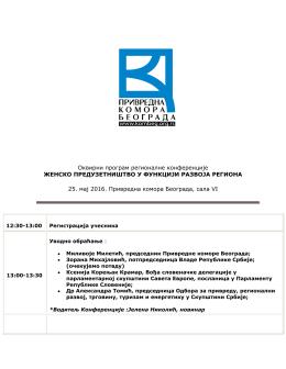 Оквирни програм регионалне конференције ЖЕНСКО